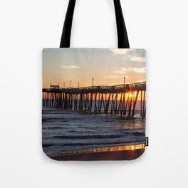 Rodanthe Pier Sunrise Tote Bag