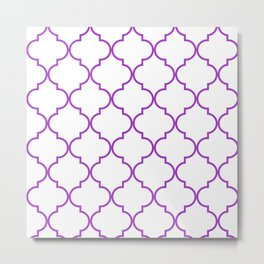 Quatrefoil - purple Metal Print