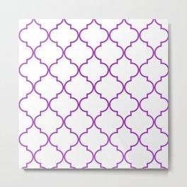 Quatrefoil - purple Metal Print