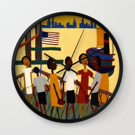 African American Masterpiece 'Ferry' NYC by William Johnson Wall Clock
