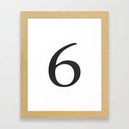 Number 6 (Black) Framed Art Print