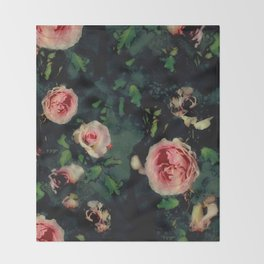 Big Pink Roses and Green Leaves Graphic Throw Blanket