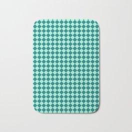 Magic Mint Green and Teal Green Diamonds Bath Mat