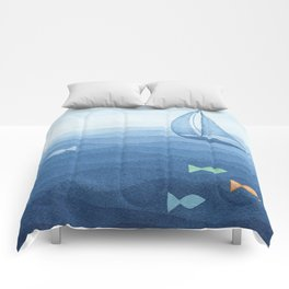 Coloured fish say hooray Comforters