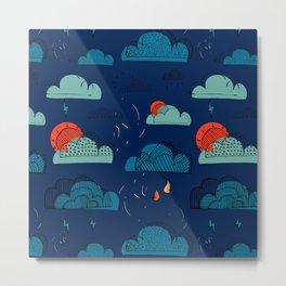 Weather Patterns Clouds Midnight-Blue Metal Print