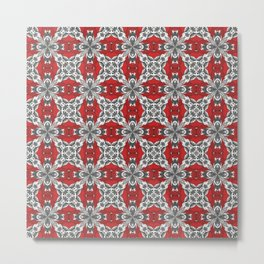 Red Black Grey and White Repeat Tile Pattern Metal Print