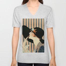"""The Black Hat"" Art Deco by George Barbier Unisex V-Neck"