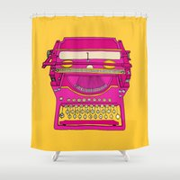 typewriter Shower Curtains featuring Typewriter III by bluebutton studio