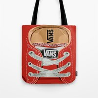 vans Tote Bags featuring Cute red Vans all star baby shoes apple iPhone 4 4s 5 5s 5c, ipod, ipad, pillow case and tshirt by Three Second