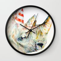 party Wall Clocks featuring Rhino's Party by Brandon Keehner