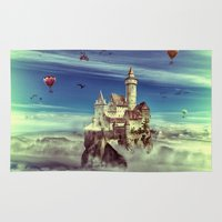 castle in the sky Area & Throw Rugs featuring Laputa - Castle in the Sky by Paula Belle Flores