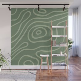 Topographic Map / Grayish Green Wall Mural