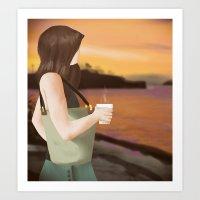Coffee On The Beach Art Print