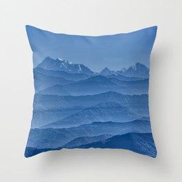 Blue Hima-layers Throw Pillow