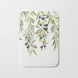 Olive Branch Watercolor  Bath Mat