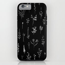 Black wildflowers iPhone Case