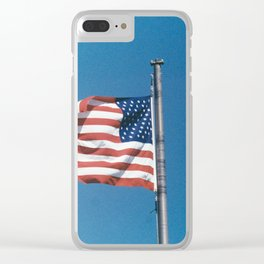 American Flag in Clear Blue Sky Clear iPhone Case