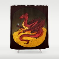 smaug Shower Curtains featuring Smaug the Golden by RedWryvenArt
