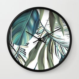 Tropical colorful background with leaves. Wall Clock