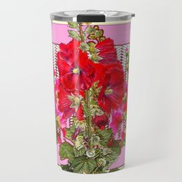 MODERN ART RED & PINK  HOLLYHOCKS BOTANICAL  PATTERNS Travel Mug