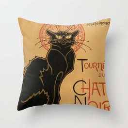 Le Chat Noir The Black Cat Poster by Théophile Steinlen Throw Pillow