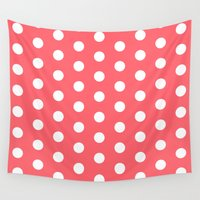 polka dot Wall Tapestries featuring Polka Dot Coral by Beautiful Homes
