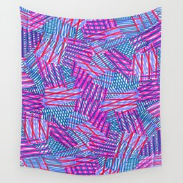Pink and Blue Criss Cross - Sarah Bagshaw Wall Tapestry