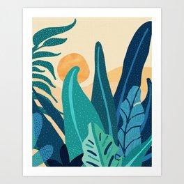 Afternoon Landscape  - Vertical Retro Palette Art Print