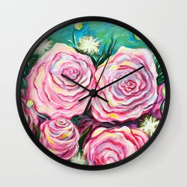 May Tea Roses Wall Clock
