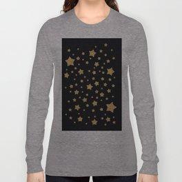 Gold Stars on BLack Long Sleeve T-shirt