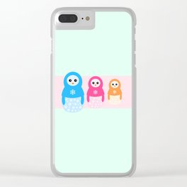Winter matrioshka candy penguins Clear iPhone Case