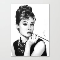 hepburn Canvas Prints featuring Audrey Hepburn Pencil drawing by Thubakabra
