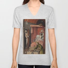 Hieronymus Bosch - Death And The Miser. Unisex V-Neck
