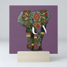 floral elephant violet Mini Art Print