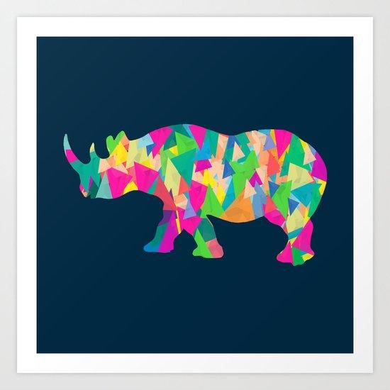 Abstract Rhino Art Print