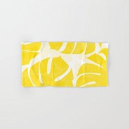 Mellow Yellow Monstera Leaves White Background #decor #society6 #buyart Hand & Bath Towel