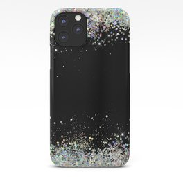 Black Holographic Glitter Pretty Glam Elegant Sparkling iPhone Case