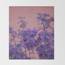 Rowan tree and blue polka dots Throw Blanket