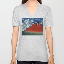 "Hokusai (1760–1849) ""Fuji, Mountains in clear Weather (South Wind, Clear Sky)(Red Fuji)"" Unisex V-Neck"