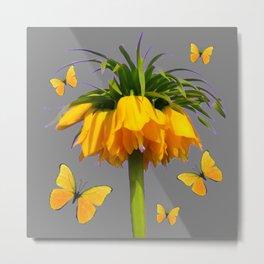BUTTERFLIES YELLOW CROWN IMPERIAL FLOWERS Metal Print
