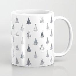 Rustic Christmas Trees Black and White Coffee Mug