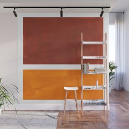 Burnt Sienna Yellow Ochre Rothko Minimalist Mid Century Abstract Color Field Squares Wall Mural
