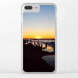 Wharf Beach Sunset Clear iPhone Case