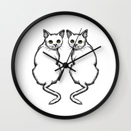 Cat Couple, Green Eyes, Looking Over Shoulder, Line Art Wall Clock