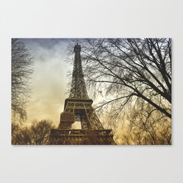Winter sunset near the Eiffel tower in Paris Canvas Print