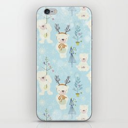 From Bears And Christmas-Cute teal X-Mas Pattern iPhone Skin