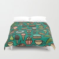 macaroon Duvet Covers featuring Coffee and pastry  by Julia Badeeva