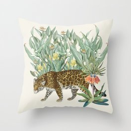 Floral Tiger Jungle Throw Pillow