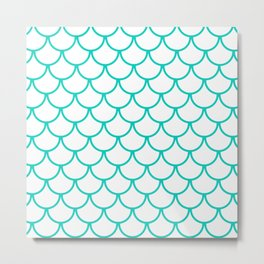 Aqua Blue Fish Scales Pattern Metal Print