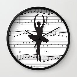 ballerina art, music Notes , girls nursery art, ballerina décor , girls nursery art , Wall Clock